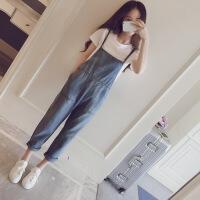 2019春装新款韩版宽松显瘦减龄vintage可爱牛仔背带裤女连体裤夏 背带裤