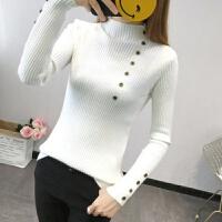 秋冬半高领打底衫女长袖修身上衣韩版纽扣针织衫女毛衣潮