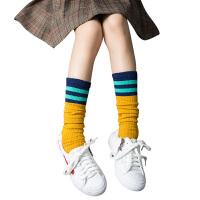 女童中筒袜春秋冬棉袜公主宝宝过膝长筒长袜儿童男童足球堆堆袜子