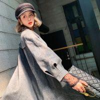 毛呢外套女中长款2019秋冬新款韩版呢子大衣女镂空百搭羊绒风衣