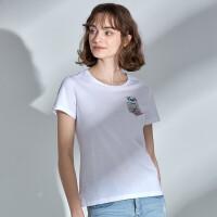 NORTHLAND/诺诗兰新款女士休闲可爱小熊图案圆领T恤GL082A08