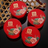 婚庆用品创意结婚糖盒圆形喜糖盒马口铁喜糖盒子铁盒礼盒糖果盒 小号75圆(可装普通糖果8个)