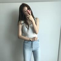港味复古chic吊带上衣韩版学生百搭针织冰丝背心女夏外穿无袖T恤 均码