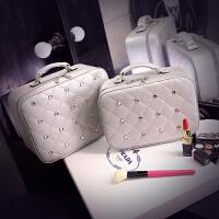 化妆盒便携带镜子的 化妆包女小号便携韩国简约大容量旅行带镜化妆品收纳包化妆箱手提