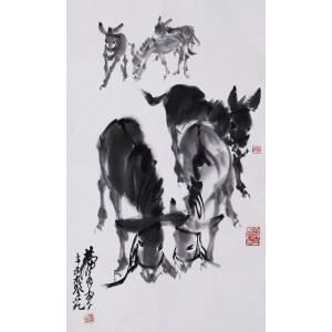 中国画艺术大师   黄胄款(附出版)《六驴图》