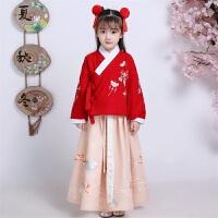 儿童汉服女冬款加厚冬装中国风宝宝汉服古装服装女童袄裙毛呢套装