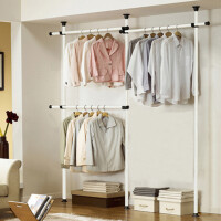 顶天立地衣架落地晾衣架置物架伸缩杆不锈钢单杆衣帽室内组装衣柜