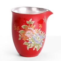 鎏银公道杯汝窑陶瓷茶海单个茶具仿复古鹰嘴倒茶公杯纯银家用匀杯