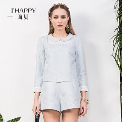 海贝秋季新品衬衫 甜美淡雅纯色娃娃领上衣 女装长袖衬衫