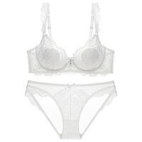 性感蕾丝透明胸罩无海绵薄款内衣套装女大胸显小全罩杯超薄款文胸