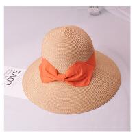 孙俪夏季日本旅游海边沙滩遮阳帽子可折叠大沿帽女渔夫帽草帽 可调节