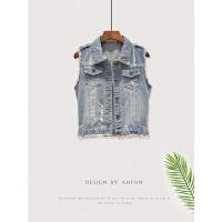 AHFun/2018春夏季新款韩版短款破洞无袖牛仔背心马甲女上衣短外套