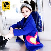 女童风衣外套2018新款韩版冬装中长款加厚洋气中大童大衣女孩上衣