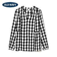 OldNavy官方旗舰店 女装 格纹宽摆长袖上衣 339475