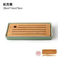 陶瓷茶盘日式家用竹托盘功夫茶具套装圆形简约实木干泡迷你小茶台