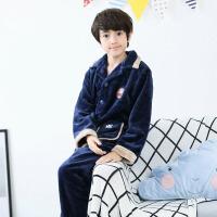 儿童睡衣男冬珊瑚绒12秋冬季15岁男童中大童法兰绒家居服男孩