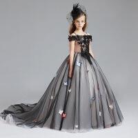 儿童礼服公主裙黑色女童圣诞万圣节服装演出服主持走秀拖尾蓬蓬裙 黑色