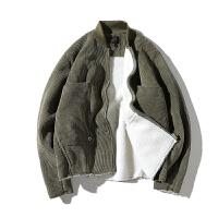 冬季新款灯芯绒夹克男韩版棒球领上衣羊羔毛加厚外套潮流时尚男装