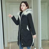 冬装女装长款过膝修身加厚韩版收腰大码女士保暖棉衣外套 M 建议85-100斤