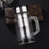 高档双层水晶玻璃保温杯商务办公泡茶车载带温度显示玻璃保温杯子