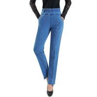 中老年女牛仔裤松紧腰厚款高腰直筒裤加绒女裤老年人妈妈款长裤 29码 腰围2尺2