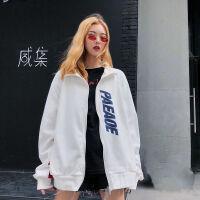 加绒开衫卫衣女秋冬装学生韩版宽松BF拼色长袖拉链外套上衣服
