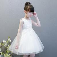 �和��表演服花童小�Y服�和�婚�����公主裙夏�b女童裙蓬蓬�B衣裙 白色 513背心 90cm