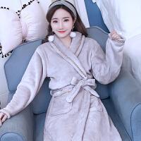 秋冬季加长款法兰绒睡袍女士浴衣裕袍加厚保暖珊瑚绒浴袍睡衣