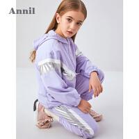 【3件3折价:149.7】安奈儿童装女童2020秋季新款儿童运动套装帅气男童撞色两件套