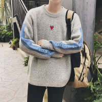 毛衣男冬季韩版宽松针织衫圆领男士2018新款拼接长袖休闲潮外套