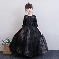 公主裙女童蓬蓬纱长袖黑色儿童模特走秀晚礼服高贵大童钢琴演出服 黑色 长款