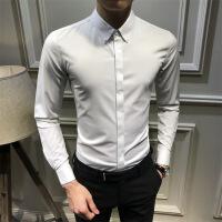 春季衬衫男长袖潮流帅气纯色休闲衬衣韩版青年修身百搭寸衣暗扣 X