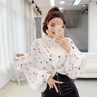 春装新款韩版气质星星灯笼袖雪纺衫女透视圆领长袖很仙的上衣