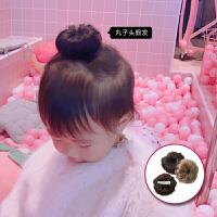 可爱丸子头发 宝宝假发质感逼真儿童发饰女童发夹2个装 浅棕色