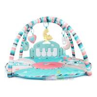 婴儿脚踏钢琴健身架游戏圆毯爬行垫0-1岁新生儿3个月玩具 蒂芙尼蓝遥控版