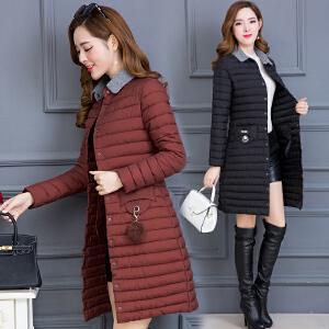 棉衣女冬季新款2018韩版修身轻薄棉服中长款百搭棉袄外套