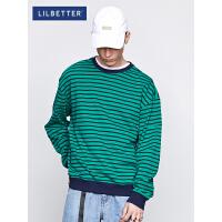 Lilbetter潮牌t恤男条纹长袖宽松男士体恤港风帅气秋衣潮流T恤LB