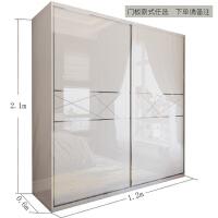 衣柜推拉门简约现代木质收纳柜子组合卧室整体烤漆移门大衣橱滑动 2门 组装