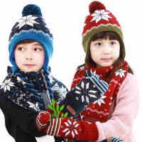 kk树秋冬款新品宝宝针织毛线手套挂脖手套秋冬男女童保暖手套