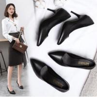 职业女鞋高跟鞋黑色皮鞋单鞋尖头细跟中跟工作鞋女