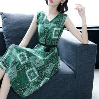 时尚品牌连衣裙女2019夏新款印花V领无袖中长款气质桑蚕丝裙子SN4494 绿色