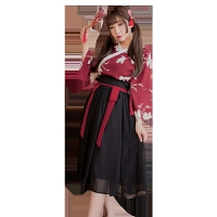 古典印花汉服套装7004女士性感情趣内衣 红-黑【上衣-腰带-裙子--内裤】