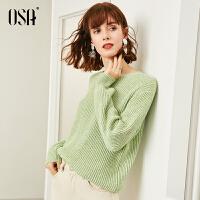【过年3折价:160.3】绿色毛衣女宽松外穿慵懒风2020年新款春季加厚圆领套头针织衫秋冬