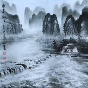 现为越世阁画院院长,中国艺术学会会员,艺宝在线特聘画家易剑赋(水墨漓江)