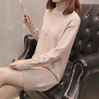 【新款刺绣毛衣】RANJU 然聚2018女装秋季新品新款半高领长袖套头毛衣裙女中长款刺绣韩版针织打底衫