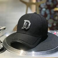 帽子女鸭舌帽镶钻水钻日系棒球帽女韩版潮嘻哈帽夏季遮阳帽子 黑色 M(56-58cm)