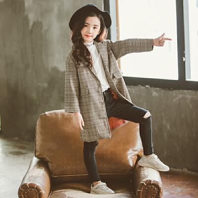 女童风衣春秋2018新款韩版儿童洋气秋装休闲秋季大童女中长款外套