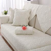 全棉沙发垫四季通用布艺防滑实木坐垫子简约现代皮沙发套罩靠背巾 叶语
