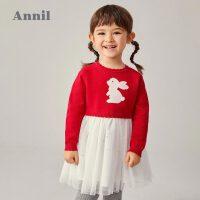 【2件4折 �A估券后�r:115】安奈�和��b女童�L袖棉��B衣裙2020冬新款