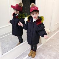 儿童棉服2018新款中长款女孩韩版大毛领棉衣冬